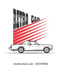 old American retro car in vintage style - vector illustration.