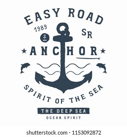 Old anchor with waves and dolphins. The surf Board. Vector illustration for printing on t shirts, Souvenirs, textiles.