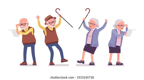 Old angry people, elderly man, woman reading paper. Senior citizens, retired grandparents, old-age pensioners with disabilities. Vector flat style cartoon illustration isolated on white background
