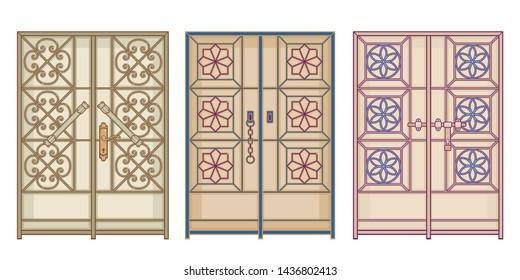 Old antique Doors in Arab gulf countries ( United Arab Emirates UAE  Saudi Arabia ksa  Bahrain  Kuwait Qatar and Oman )  Ramadan kareem isolated vector