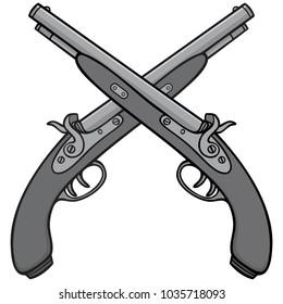 Old Antique Guns Illustration - A vector cartoon illustration of a couple of Old Antique Guns.