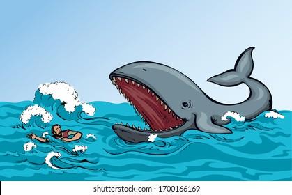 Der Mensch schwimmt durch die Wellen des Sturms. Vektorillustration