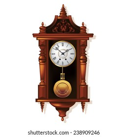 Old antique wall clock isolated on white. Vector illustration