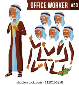 Old Arab Office Worker Vector. Traditional Clothes. Islamic. Face Emotions, Various Gestures. Animation Creation Set. Adult Entrepreneur Business Man. Happy Clerk, Servant, Employee. Illustration