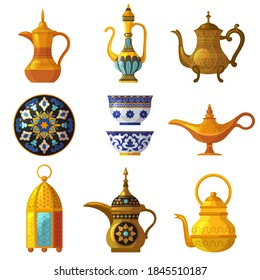 Old arabic heritage. Traditional cultural decorated pottery with logos saudi symbols vector arabia set