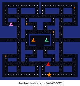Old arcade video game design. Abstract monster racing. Vector illustration