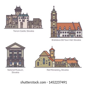 Old architecture buildings of Slovakia. Trencin castle and Bratislava old town hall, National museum and Red Monastery. Set of isolated famous historical landmarks of Europe. Sightseeing and tourism
