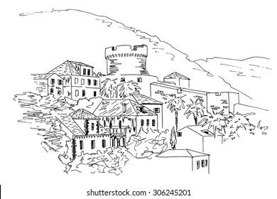 old architecture of Dubrovnik. Croatia. Vector sketch.