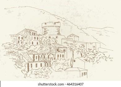 old architecture of Dubrovnik. Croatia. Vector sketch. Retro style.