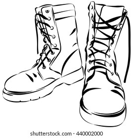 Old army boots. Military leather worn boots. Vector graphic illustration