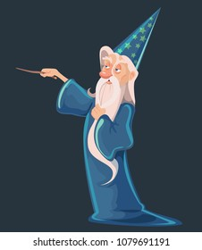 old arrogant magician with a magic wand. wizard vector illustration