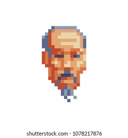 Old asian man with a beard head character greybeard avatar profile pixel art icon. Isolated vector illustration. 8-bit sprite. Design stickers, logo, mobile app.