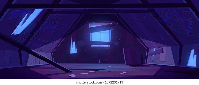 Old attic in abandoned house at night. Vector cartoon interior of garret room with broken roof, wall and beams, clutter and spiderweb. Empty messy mansard with hatch in floor and moonlight from window