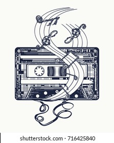 Old audio cassette and music notes, symbol of pop music, disco t-shirt design