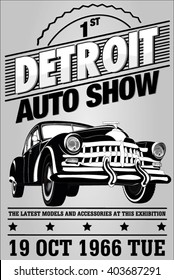 Old auto show exhibition posters and the emblem
