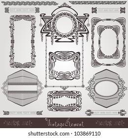 old  banner vintage  label art nouvea frame