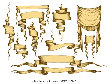 Old banners, ribbons and manuscripts set, vector illustration