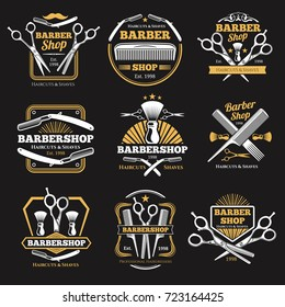 Old barbershop vector emblems and labels. Vintage male haircut signs. Barber shop label logo illustration