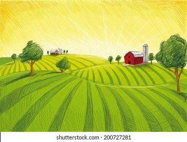 Old Barn and Field, drawing in vector.