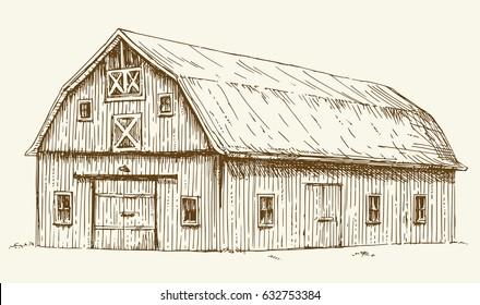 Old barn. Hand drawn illustration.