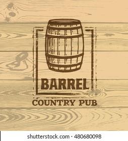 Old Barrel Creative Vector Sign. Stamp Design Element Concept On Grunge Distressed Background