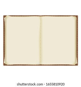 an old, battered notebook with yellowed pages bound in leather. isolated on a white background