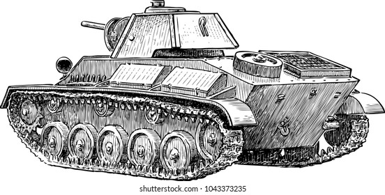 Old battle tank of World War II