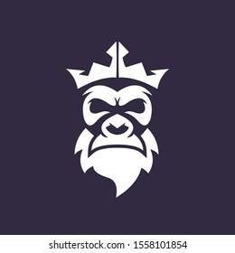 old bearded monkey gorilla face vector logo design