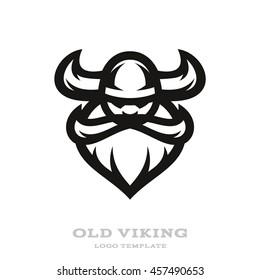 Old bearded viking logo | mascot template