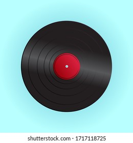 Old beautiful retro hipster vinyl record from the 70s, 80s, 90s on a blue background.