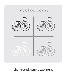 Old bicycle flat black and white vector icon.