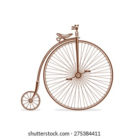 Old bicycle on white background. Retro bicycle in vector. Vintage bicycle isolated.