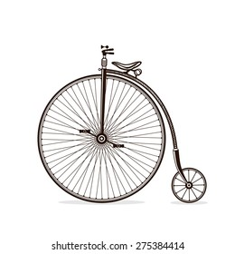 Old bicycle in vector. Vintage bicycle isolated on white background.