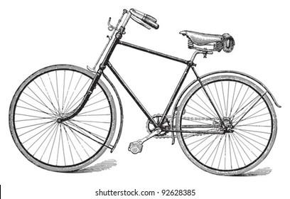 Old bicycle / vintage illustration from Meyers Konversations-Lexikon 1897