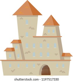 Old big castle. Vector.