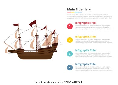 old big ship infographics template with 4 points of free space text description - vector illustration
