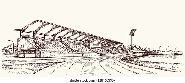 Old big village ballpark lawn. Line black ink hand drawn college row track theater cup symbol backdrop in retro art doodle cartoon style pen on paper space for text. Outline town structure venue view