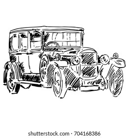 Old black classic car isolated on white background. Hand drawn illustration with vintage car of early 20th century. Stylish auto model. Freehand graphic design art for logo, emblem, prints, posters.