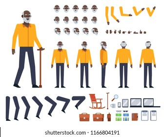Old black man in yellow shirt creation kit. Create your own action, pose, animation. Various figure design elements. Flat design vector illustration