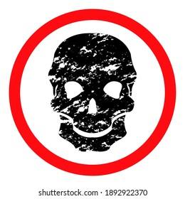 Old black shabby skull on white background, red round sign, vector illustration