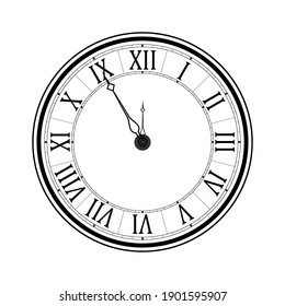 Old black and white clock face with Roman numerals and ornate vintage scrolled hands