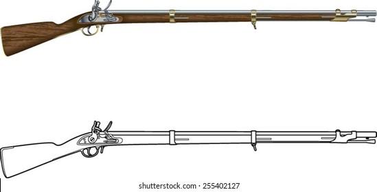old  blackpowder flintlock musket