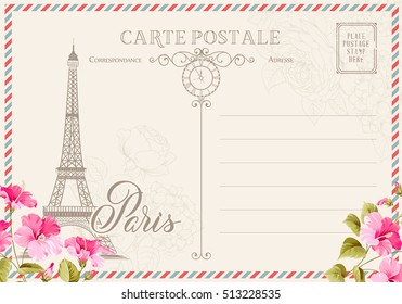 Old blank postcard with post stamps and eiffel tower with spring flowers on the top. Vector illustrtion.