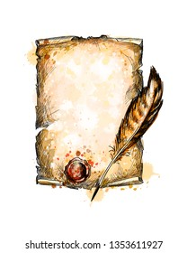old blank scroll paper and feather pen from a splash of watercolor, hand drawn sketch. Vector illustration of paints