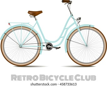 The old blue classic bicycle. Detached on a white background.