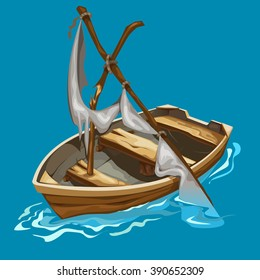 Old boat with a broken mast drifting in the ocean. Water transport. Vector illustration.