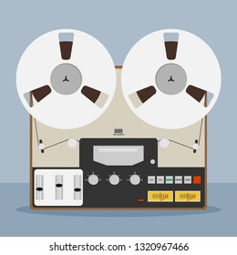 Old bobbin tape recorder. Vintage Analog Reel Tape Recorder. Original Vintage Analog Reel Tape Recorder. Retro technologies.