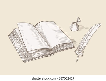 old book, feather and inkwell drawing in vintage style. vector illustration
