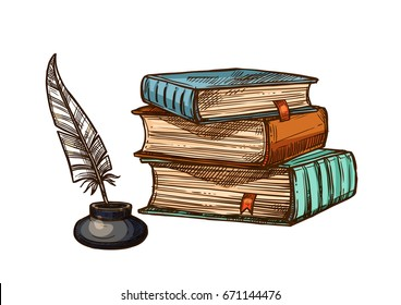 Old books stack and feather quill pen in inkwell. Vector isolated sketch symbols of retro or antique writing stationery of brown rough book with bookmark or manuscript for poetry work