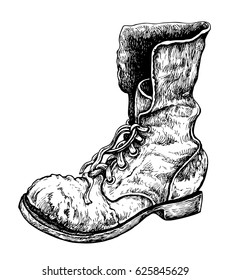 Old boot. Hand drawn vector illustration, isolated on white.